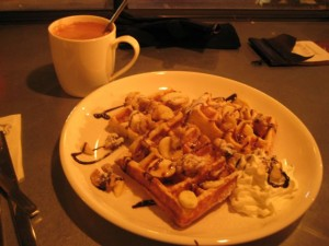 "A fabled Korean dish known as 바나나카라멜소스 피캔 와플.  Also known as ""Banana Caramel Sauce Pecan Waffle"".  Yeah."