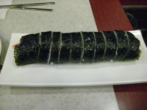 Kimbab! Seaweed, rice, and meat+veggies.