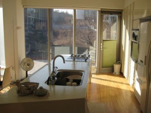 A shot of the kitchen and its view into the central park area.