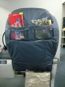 The seatback in Business Class on Delta's 777s.