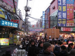 Namdaemun market. A sea of people and cheap stuff. Oh, and street food vendors.