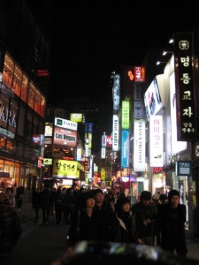 We made it back to Myeongdong to find dinner. At night it's a cornucopia of lights and sounds, quite pretty. And no cars!