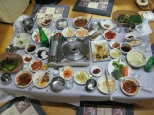 Dinner layout! Wrap the eel in the vegetables, add your choice of condiments, and eat!